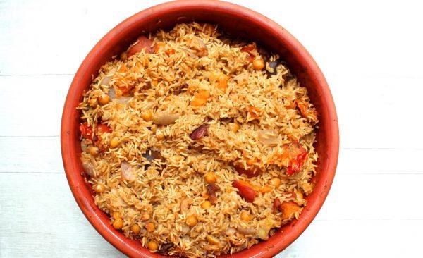 קדרת אורז חומוס וירקות