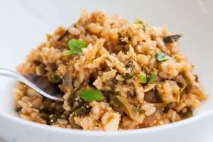 ספאנקוריזו אורז מלא, ירוקים ועגבניות