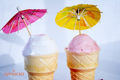 גלידת תות וגלידת לימון