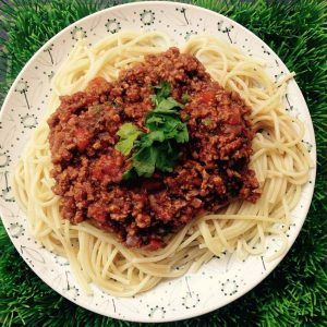 ספגטי בולונז עם טחון מן הצומח